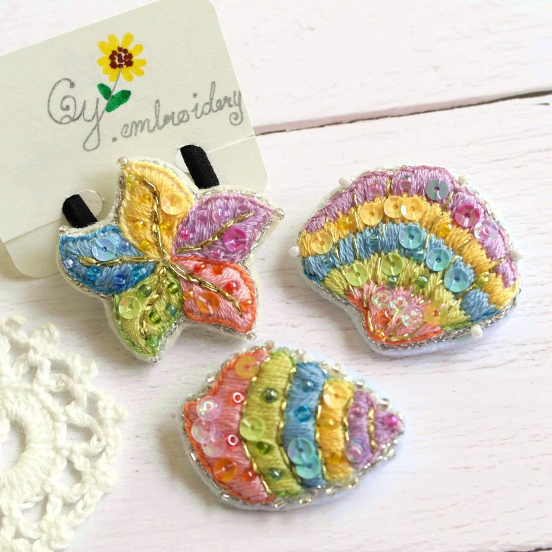 Qy.embroidery Summer Ocean Wind Shiny Colorful Handmade Embroidery Hairpin Brooch