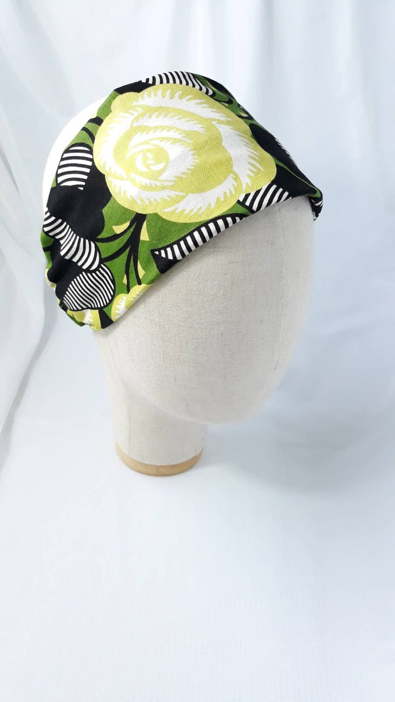 Green print, rose scarf, scarf, wide hair band