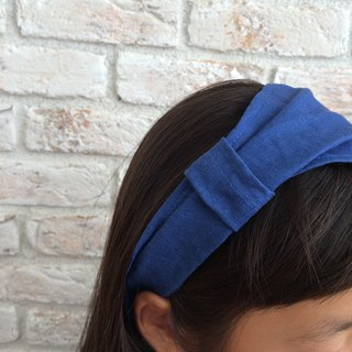 Thick Linen Hair band- Blue