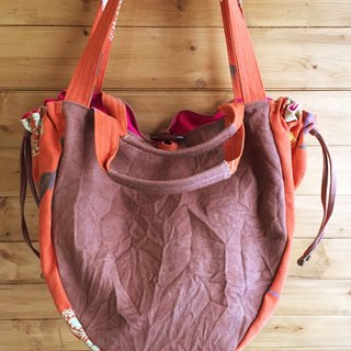 Hand-printed silk drawstring bag double