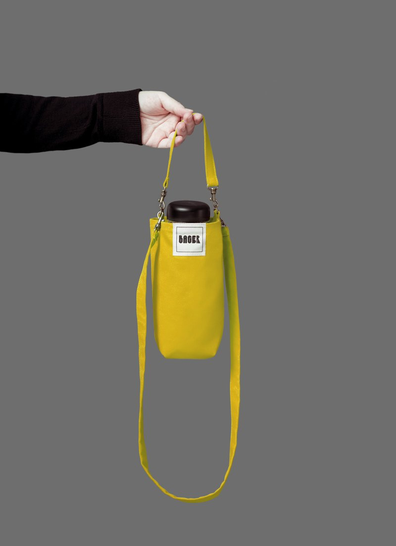 Universal environmentally friendly beverage bag detachable long strap with oblique shoulder carrying bright yellow