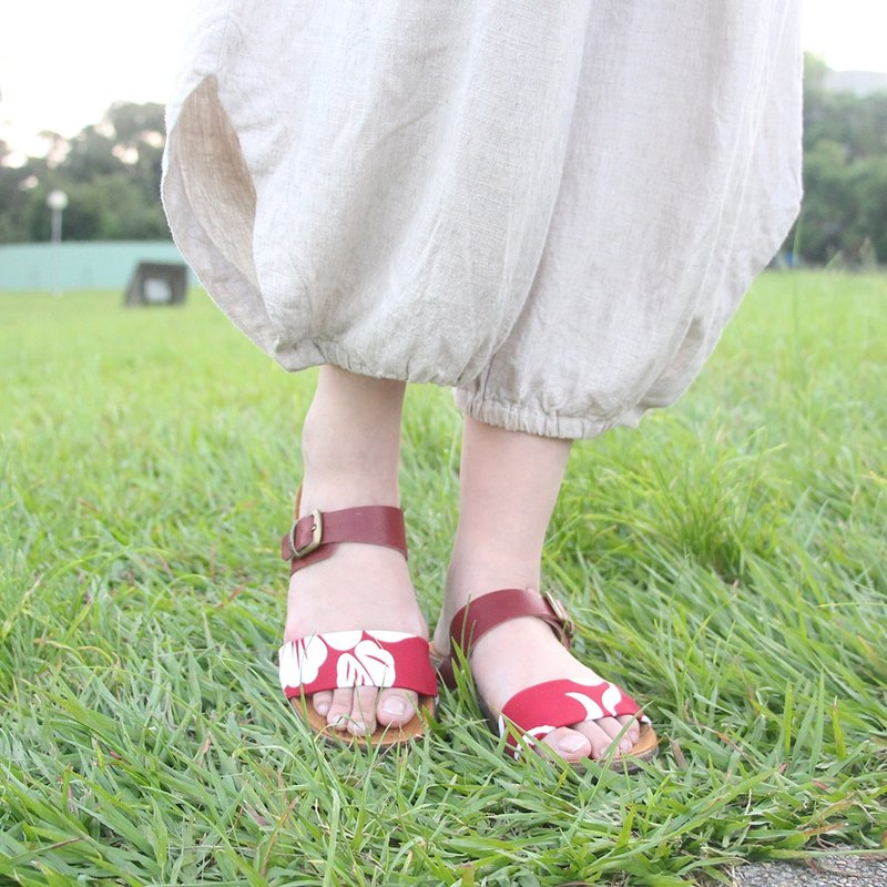 【Leather Slip On  Flamingo】Leather Slip On Sandals/ Leather insole