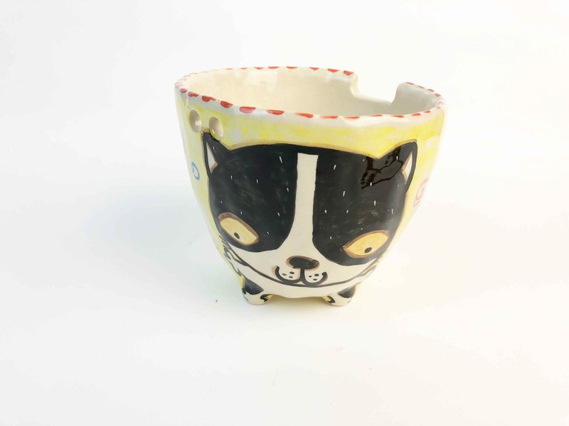 Nice Little Clay handmade bowl happy flower cat 0214-11