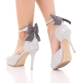 REBECCA; Joyful Party Pumps, 100% Genuine Leather Gray Open toe Heel