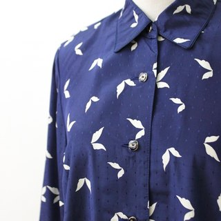 [RE0407T1897] Nippon dark blue vintage leaf print shirt