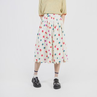 [Egg Plant Vintage] Wavy Colorful Printed Skirt