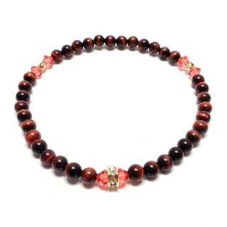 Red Tiger Eye SWAROVSKI Lotus Red Crystal Zuo Gold Rhinestone beads bracelet lucky stone
