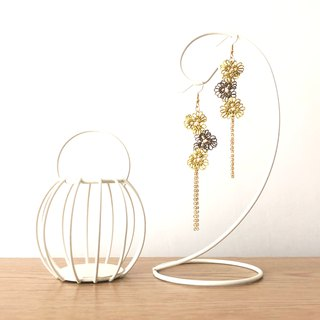 【訂製】手編三小花 耳環 金秋 秋冬系列 Tatting Earrings