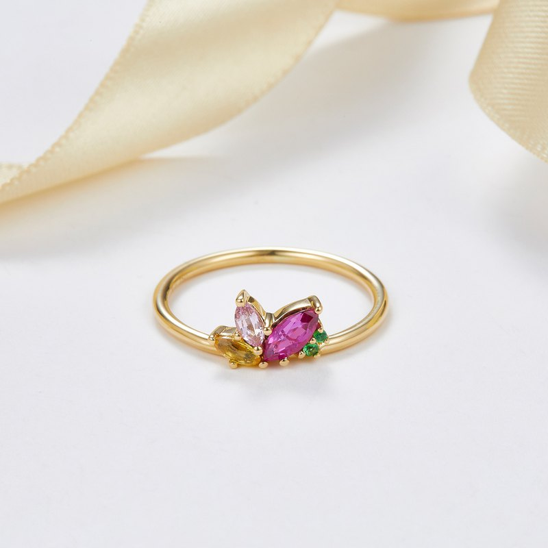 【PurpleMay Jewellery】18K SOLID GOLD MARQUISE SHAPE SAPPHIRE RING- R064