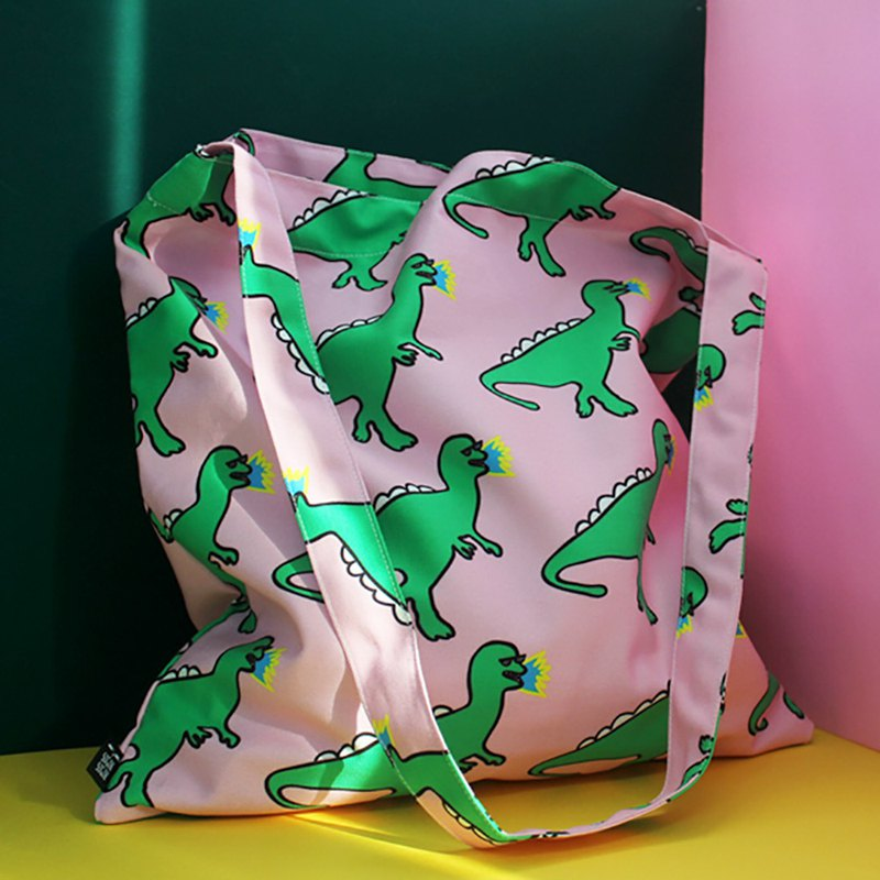 Sunglasses dinosaur side back green canvas bag large storage