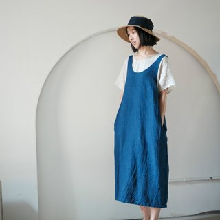 Static | Indigo Simple Casual Loose Skirt Dress Natural Ecology Rain Dew Plant Blue Dyeing