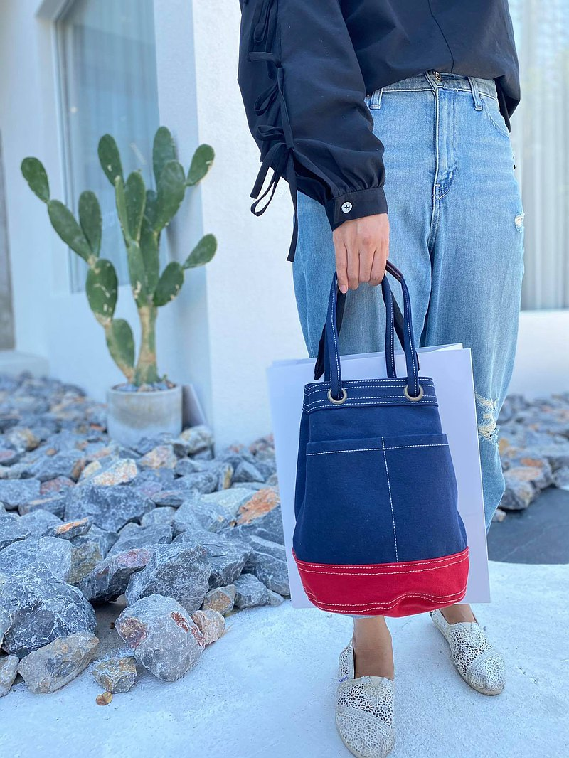 Mini Navy/Red Canvas Bucket Bag with strap /Leather Handles /Daily use