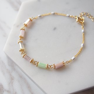 Noble temperament, multi-color square column, light pink bracelet, gift
