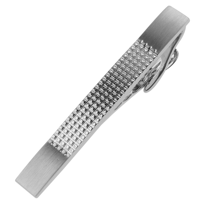 57mm Silver Two Tone Etched Grid Tie Clips
