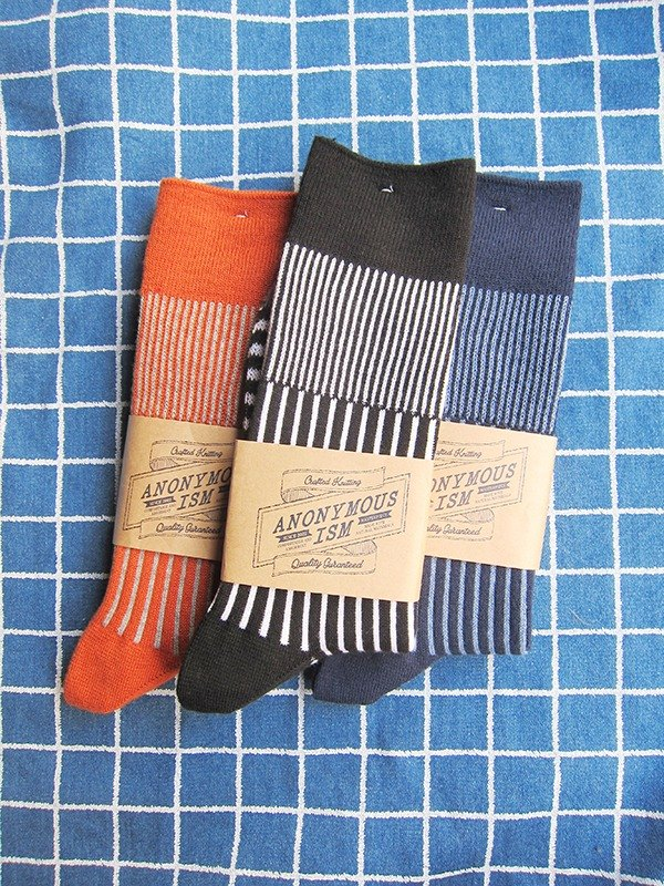 [Picks] Anonymous Ism three kinds of stripe arrangement stockings Nippon outdoor outdoor autumn and winter thick socks