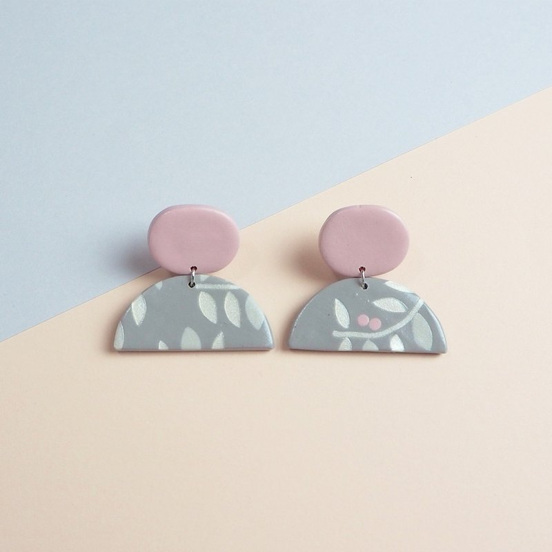 Soft Ceramic Earrings - Grey Plants - PSYAA04