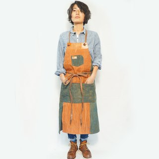 patchwork apron green × brown  /natural  persimmon & indigo dye