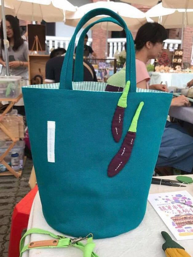 Taiwan eggplant bag / lunch bag / blue green bottom