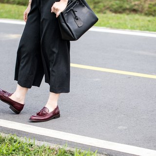 Lin Guoliang product saddle piece flow Su Lok shoes wine red