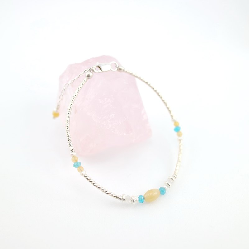 【ColorDay】Dazzling~黃玉_磷灰石_月光石_天然珍珠純銀手環〈Yellow Jade_Apatite_Moon Stone_Pearl Silver Bracelet〉