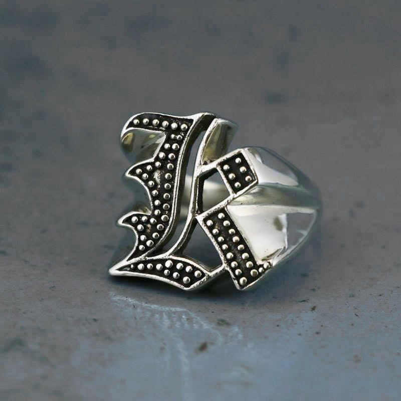 Biker Ring gothic A-Z silver skull alphabet Initial Letters GIFT Old english K