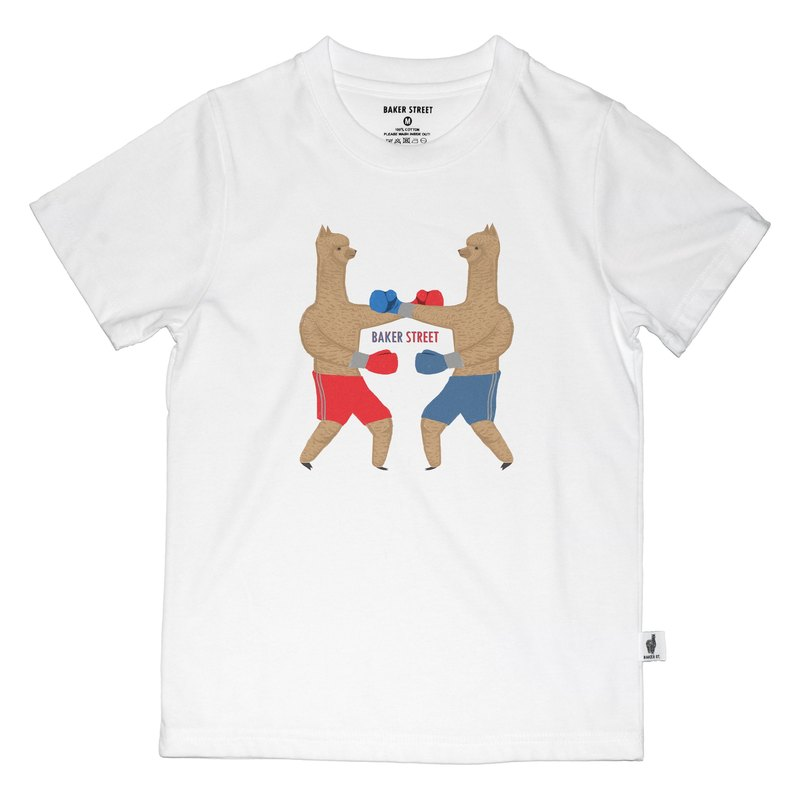 British Fashion Brand -Baker Street- Boxing Alpaca Printed T-shirt for Kids