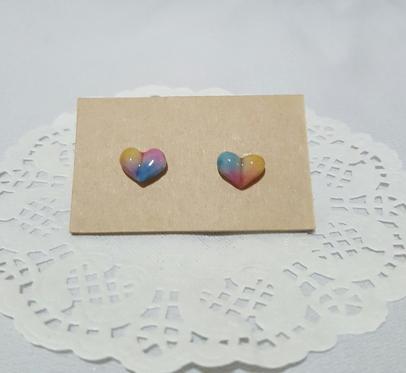 Mixed color pastel [three-dimensional love] on-ear earrings. Hypoallergenic Ear Pins / Earrings