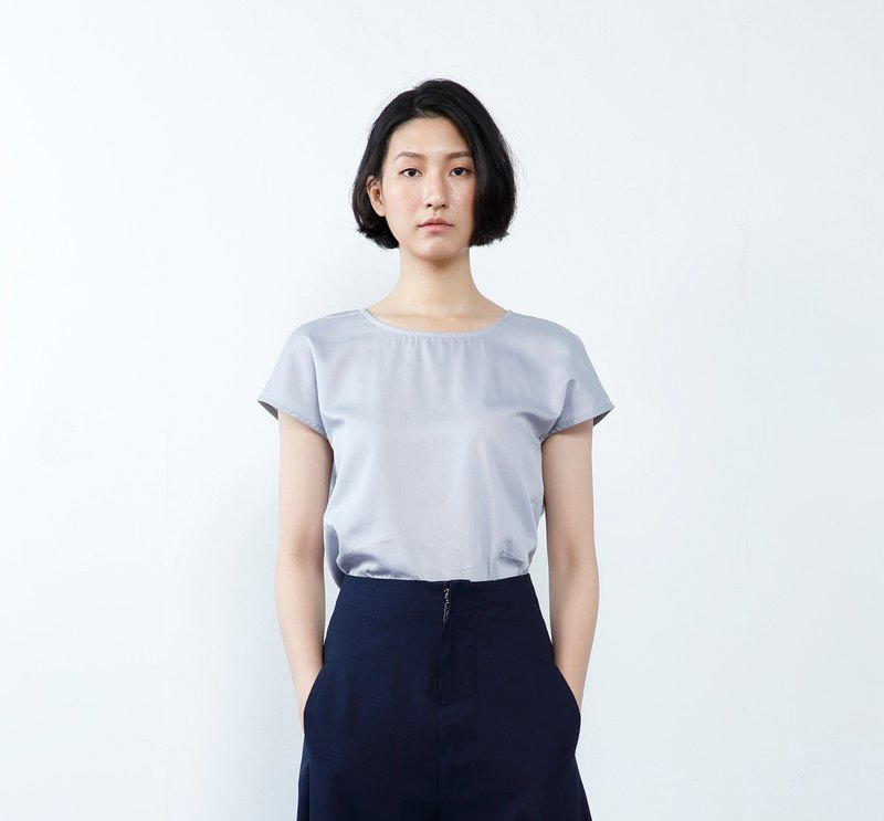 [Seasonal Sale] Work hard to embrace the future now and Collagen Spliced Blouse-Gray