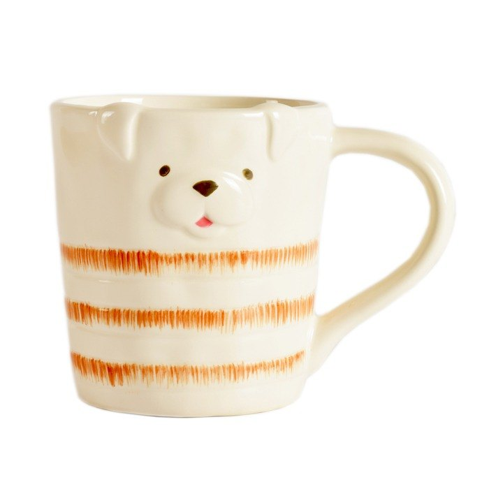 [BEAR BOY] striped fat dog mug