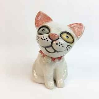 Nice Little Clay Stereo Hand Ornament_Red Rivet Collar White Cat 0501-01