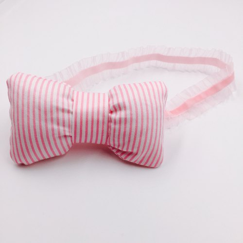 Pink striped fat bow hair band