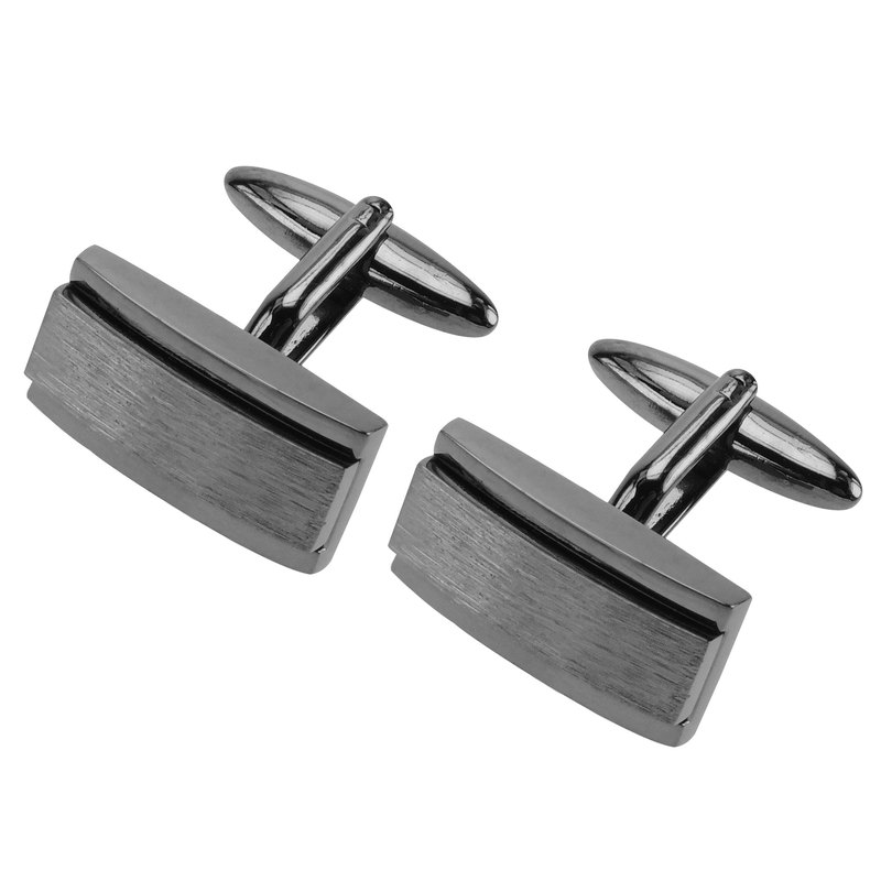 Black Gunmetal Bridged Center Inlay Cufflinks