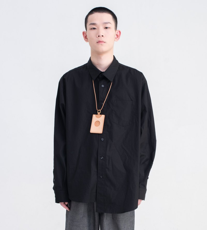Black ultra-loose silhouette long-sleeved shirt for men and women with independent design Japanese casual asymmetric design