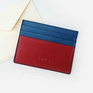 """Red&Navy Blue Trim"" Cow Leather Card Holder"