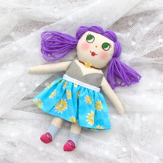 Rabbit Mi original hand-painted doll purple hair models with hand-made can take off the small skirt