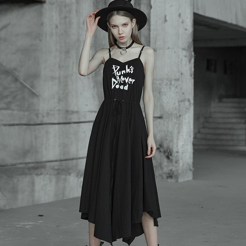 Gothic witch straps cotton long dress