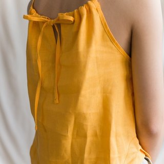 Foak Ruffle Tank Top in Mustard
