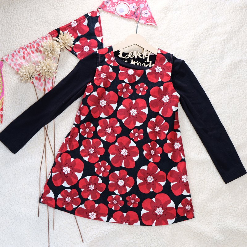 Black and Red Flower Corduroy Sleeveless Dress