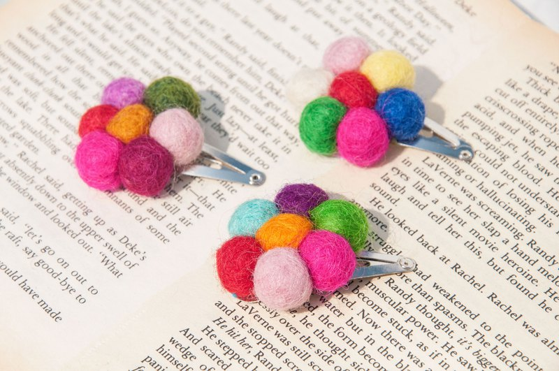 Birthday gift hand made wool felt hair accessories animal hair clip wool felt ball hairpin - rainbow flower forest