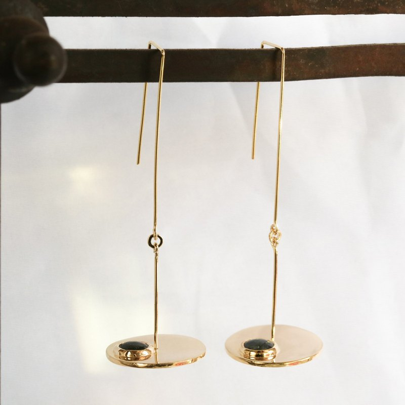 lying down earrings sterling silver brass 18k gold plated sapphire