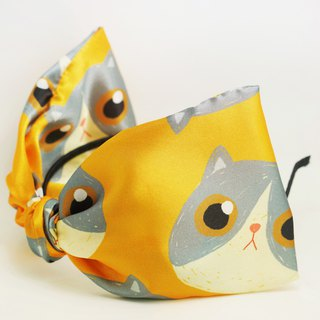 Ben Shou original handmade cat print big bow headband