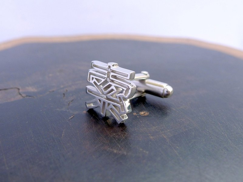 HK214 ~ 925 silver <cable> word cufflinks