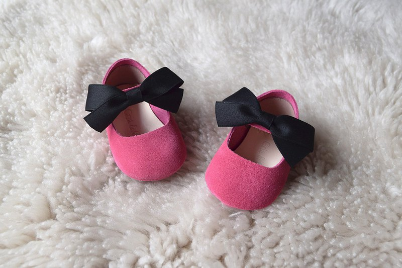 Hot Pink Baby Girl Shoes with Black Satin Bow, Baby Moccasins, Baby Booties