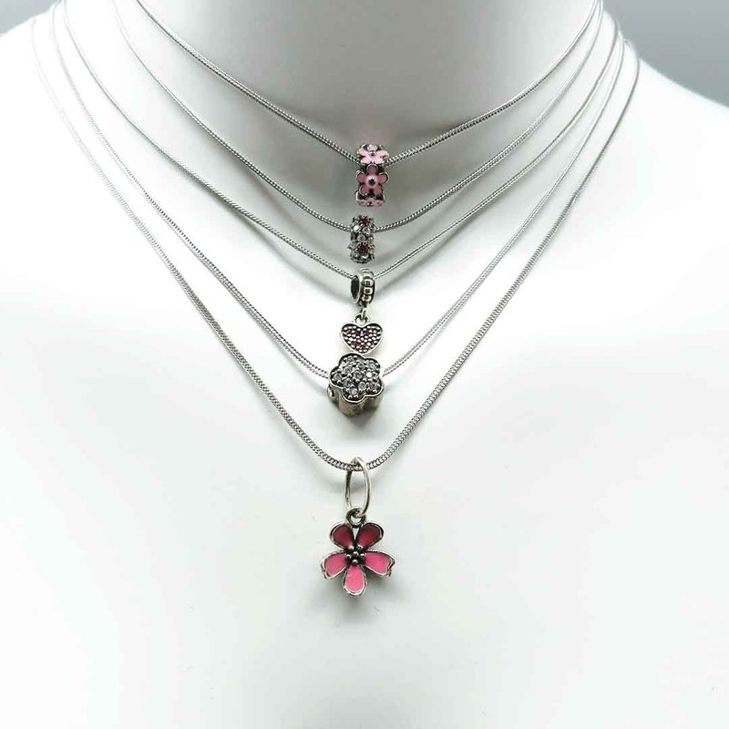 925 Silver Necklace Flower Inlaid Zircon Heart Clover 5 Styles Options