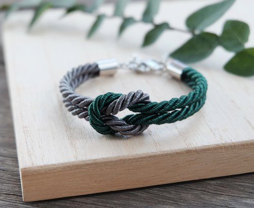 Charcoal & Dark green knot rope bracelet