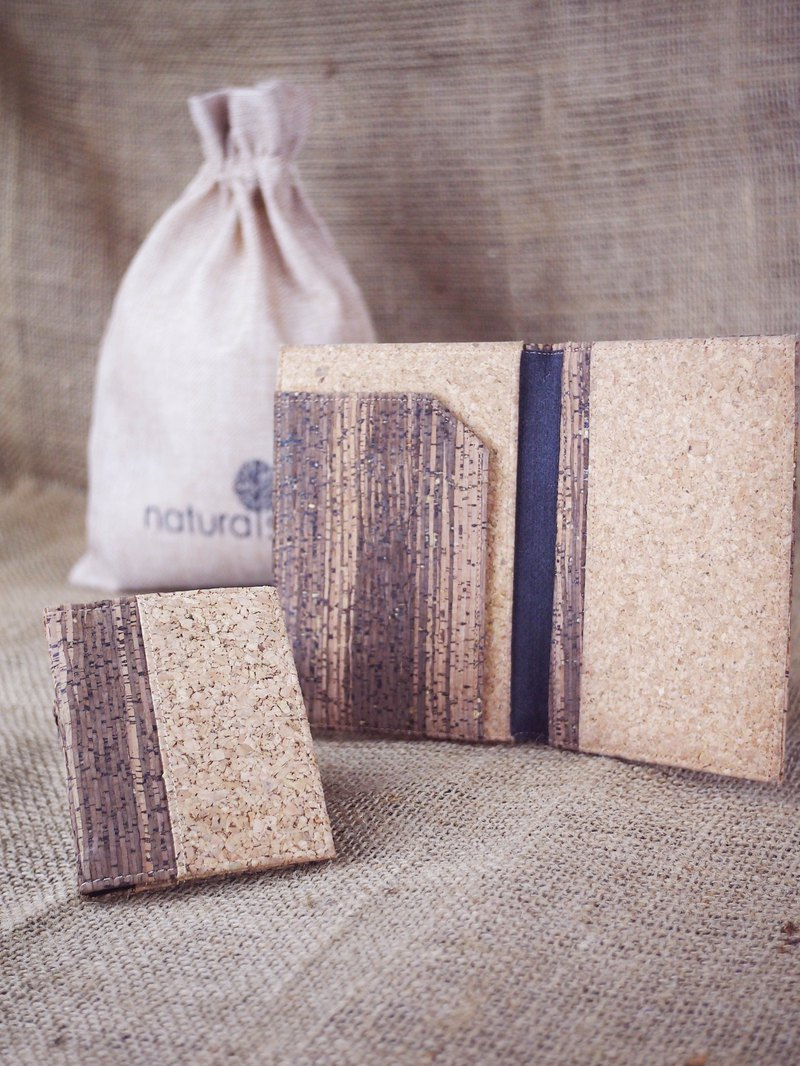 naturaism special set: card holder + passport holder + linen bag