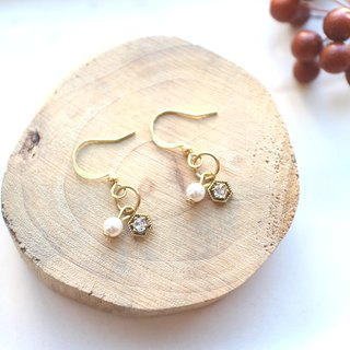 The story-Zircon brass earrings