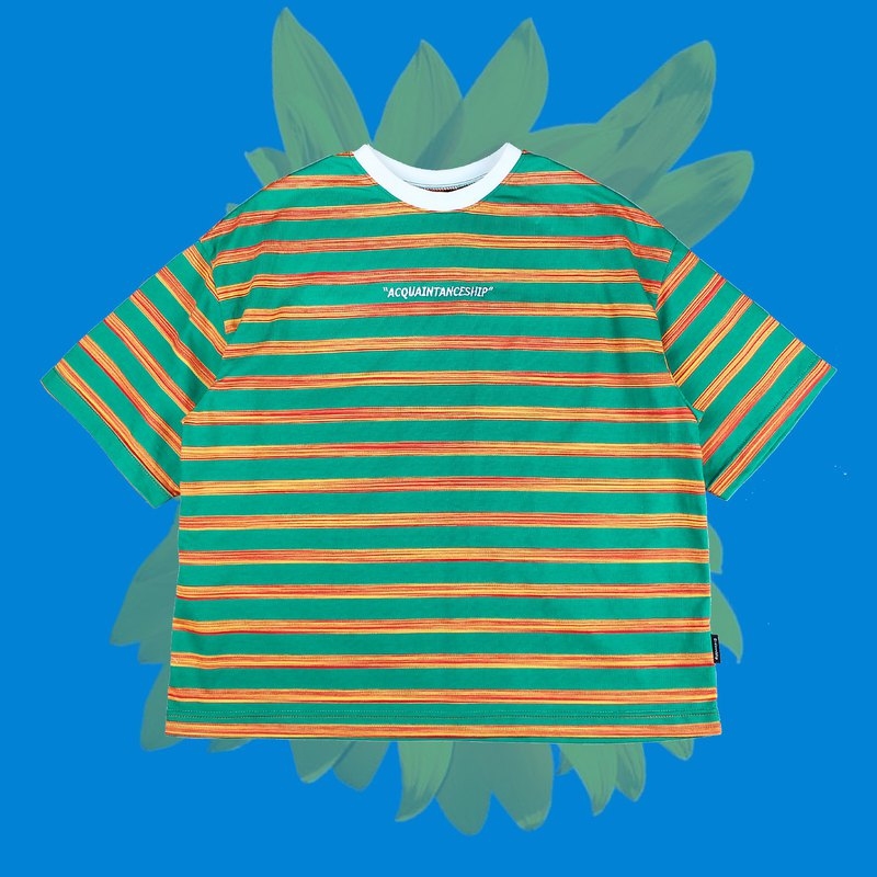 Striped Embroidered Top - Green