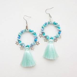 Light mint circular earrings with tassel and star