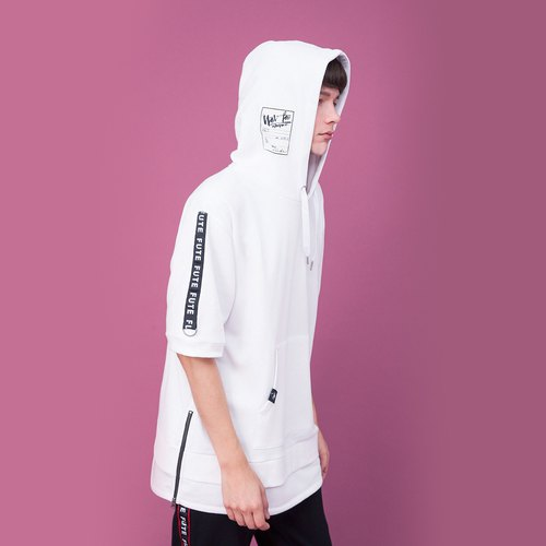 ELBOW-LENGTH SLEEVES LONGER HEM HOODIE